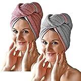 JEMIDI HOMELEVEL 2 Stück Frottee Turban Haarturban mit Knopf für Erwachsene aus 100% Baumwolle, saugstark, Stabiler Halt 1 x Grau + 1 x Altrose