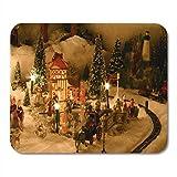 Mauspads Baum Menschen Weihnachtsdorf Miniaturhäuser Zug viktorianischen Keramik Mauspad für Notebooks, Desktop-Computer Matten Büromaterial