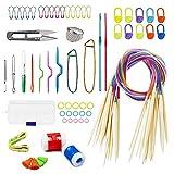 Anyasen stricknadeln 18 Paar rundstricknadel Häkelnadel Set strickset Knitting Needles Bunt Rundstricknadeln Set aus Bambus Stricknadelset Holzstricknadeln mit 61pcs Stricknadeln Zubehöre 2.0-10.0mm