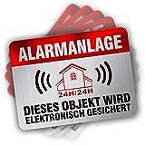 Alarmanlage Aufkleber -Alarmgesichert Haus alarmaufkleber -überwacht Einbruch Edelstahl-Look, 80 x60 mm 12-Stück