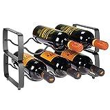 mDesign 2er-Set Flaschenregal – stapelbares Weinregal aus Metall für bis zu 3 Flaschen – handliches Regal für Weinflaschen oder andere Getränke – dunkelgrau