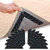 Teppichgreifer Antirutschmatte, 16 Stück rutschfest Teppiche Aufkleber Anti Rutsch Teppich Waschbarer und Wiederverwendbarer Teppich Aufkleber, für Hartholzböden Teppiche und Matten (Schwarz16)