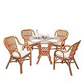 Weihnachten: -52% Rattan-Essgruppe Laren - Rattan-Möbel-Set - inkl. Sitzkissen - Orange