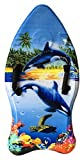Idena 40311 - Surfboard für Kinder, Bodyboard mit Handschlaufen und Stoffüberzug, Orcas, ca. 93 x 45 x 9 cm