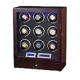 LY88 Uhrenbox für 9 Uhren mit LED-Licht Holz Quad Automatic Uhrenbeweger, LCD-Touch-Display mit 5-Modus