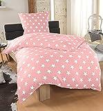 DreamHome 2 teilige Sterne Bettwäsche, Bettbezug in der Größe 135x200 und Kissenbezug 80x80 Farbe: Rosa