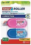 tesa Mini Korrekturroller ecoLogo - Band zur Korrektur auf Papier - Klein und ergonomisch - 6 m x 5 mm - Blau/Pink - 2er Pack