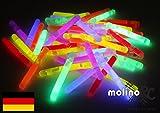 50 Mini Knicklichter Leuchtstäbe   Bissanzeiger Glowstick   Partylichter Neon   rot gelb grün pink orange blau