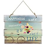 Woodpassion Holzschild 30x40 cm Happiness Way of Life Wandschild Schild Dekoschild Spruch Vintage Wandbild MDF