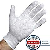 Dermatest: Sehr Gut - Lavamed® Baumwollhandschuhe - extra weiche Baumwoll-Handschuhe aus 100% Baumwolle - Trikothandschuhe - weiße Zwirnhandschuhe - Premium Kosmetikhandschuhe (12 Paar, M)