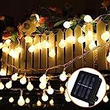 Solar Lichterkette Außen, 8 Meter 60er LED Solar Lichterkette mit LED Kugel 8 Modi IP65 Wasserdicht Warmweiß Lichterkette mit Lichtsensor Beleuchtung für Garten, Partys, Balkon, Hochzeit