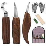 DIAOPROTECT Holz Schnitzmesser,6-in-1 Walnuss Schnitzmesserset-Beinhaltet Schnitzhakenmesser,Schnitzmesser,Spanschnitzmesser,schnittfeste Handschuhe,Schnitzmesserschärfer für Löffelschalenbecher Kuksa