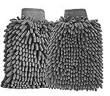 BTkviseQat 2 Stücke Autowaschhandschuh Wasserdicht Mikrofaser, weicher Korallen Auto Chenille Waschhandschuh Handschuh mit Reinigungstuch Trokentuch für Autowäsche