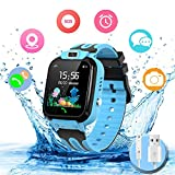 Smartwatch Kinder Wasserdicht Kids Smart Watches Phone Uhr für Kinder Jungen Smartwatch Mädchen mit LBS Tracker Voice Chat, Blue