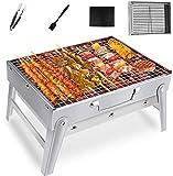 Gifort Mini Portable Grill, BBQ Holzkohlegrill Tragbar Mini Grill Rostfreier