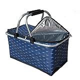 Einkaufskorb faltbar mit Kühlfunktion, Klappbar Thermokorb   Faltkorb mit Deckel   Isolierkorb   Einkaufstasche mit Reißverschluss   Tragetasche   Schwarz, 30L (Blaue Feder)