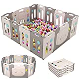 Birtech Laufstall Baby Laufgitter Grau Absperrgitter Krabbelgitter Schutzgitter für Kinder aus Kunststoff mit Tür und Spielzeug 14 Platte,Grau Weiß