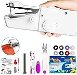 Xpassion tragbare Handnähmaschine, Mini Handheld Nähmaschine 19 pcs Tragbar Elektrische Handnähmaschine Schneller Handlicher Stich für Stoff Kleidung Kindertuch