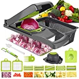 Aoweika Gemüseschneider, 13 in 1 Zwiebelschneider Gemüsehobel Mandoline Slicer Kartoffelschneider Obstschneider Zwiebel Zerkleinerer Ideal zum Hobeln von Obst und Gemüse