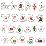 GIANOLUC 22 Stück Ausstechformen Weihnachten, Keksausstecher Weihnachten, Fondant Ausstechformen, Plätzchen Ausstecher Weihnachten Set, Weihnachtsausstechformen für Weihnachten Kekse Backen Kinder