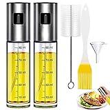 DERU® Öl Sprühflasche, Öl Sprayer, 2 Stück Ölsprüher Flasche - GlasFlasche Essig Spender - mit Skala, mit Backpinsel, Reinigenbürste und Öltrichter, für Kochen, Salat, BBQ, Pasta Usw (100ML)