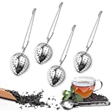Guanici 4 Stück Brühlöffel Teesieb Löffel mit Griff Edelstahl Teeei für losen Tee für Tasse Tee-Ei Sieb Tee Rostfreier Premium Teesieb Teefilter Tee-Ei geeignet für Teekanne, Tasse, Glas, Töpfe