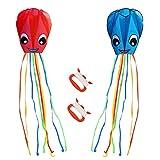 ZERHOK Kinder Drachen, 2Stk Rote und Blau Oktopus Winddrachen mit Drachenschnur Bunt Einleiner Flugdrachen für Mädchen Jungen
