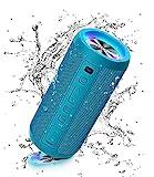Ortizan Bluetooth Lautsprecher mit Licht, Tragbarer Bluetooth Box mit IPX7 Wasserschutz, Dualen Bass-Treibern, 30h Akku, Freisprechfunktion, Bluetooth Kabelloser Lautsprecher für Phone, Outdoor