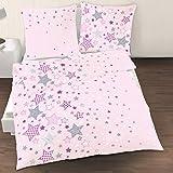 Sterne Mädchen Bettwäsche · Kinderbettwäsche ☆ Sternchen in Lila, Rosa - 1 Kissenbezug 80x80 + 1 Bettbezug 135x200 cm - 100% Baumwolle in Renforce