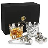 Kollea Whisky Set Geschenk, Whiskeygläser aus Kristall und Whiskey Steine mit 2 Gläser und 8 Steine und 1 Gummizange,Gute Geburtstage-und Weihnachtsgechenk für Männer
