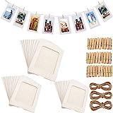 Fashion HW 30 stücke Fotorahmen aus Pappe, zum Aufhängen, 10 x 15 cm,DIY Kraftpapier Bilderrahmen Hängende Wanddekoration mit 30 stücke Clips und 3 stücke Hanf Seile Set (Weiß)