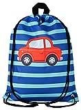 Aminata Kids Autos Turnbeutel für Kinder aus Nylon, reflektierend & wasserabweisend - unser Kindergarten Sportbeutel mit Auto-Motiv hat verstärkte Nähte und einen Brustclip