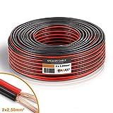 MANAX® Lautsprecherkabel CCA 2x2,5mm² rot/schwarz 20 m Ring