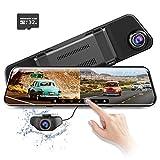 AZDOME 11.8' Spiegel Dashcam mit Rückfahrkamera, ADAS, Super Nachtsicht, Loop-Aufnahme, G-Sensor, Einparkhilfe, Parkmonitor Autokamera Dual Lens[1296P, 170°Vorne; 1080P, 150°Hinten](PG17, 32G Karte)