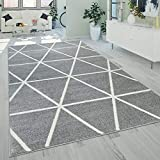 Paco Home Kurzflor Teppich Grau Weiß Wohnzimmer Rauten Muster Skandi Design Weich Robust, Grösse:160x220 cm