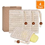 Pretop 4x Seifensäckchen Bio, Seifensäckchen Sisal, Seifenbeute Natur, Aufschäumen und Trocknen der Seife, Peeling, Massage, Seifenbeutel | Seifensack | Seifenreste | Seifentasche …