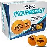 PHIBER-SPORTS Premium Tischtennisbälle 3 Stern [24 Stück] Orange – Perfekte Spieleigenschaften - Ideal für Anfänger, Familien und Profis - Nach ITTF Wettbewerbsrichtlinien