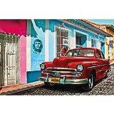 GREAT ART XXL Poster – Oldtimer in Havanna Wanddekoration – Auto Wandbild Kuba Artwork Illustration Roter Chevrolet Wohnzimmer Kunst Motiv Kubanische Straße Dekoration (140 x 100 cm)