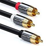 deleyCON 2m Subwoofer Kabel - Cinch RCA Y-Kabel Digitales Koaxialkabel - Vergoldete Stecker - Audio Kabel - Cinch Stecker zu 2X Cinch Stecker