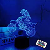 Dirt Bike Geschenke, Motocross 3D Nachtlicht für Kinder für Weihnachten Urlaub Geburtstagsgeschenke für Kinder Motorrad Fan mit Fernbedienung 16 Farben ändern