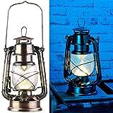 Lunartec Sturmlaterne: Ultra helle LED-Sturmlampe, Batterie, 200lm, 3W, warmweiß, Bronze (Laterne Vintage)