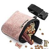 Xinda Leckerli-Tasche für Hunde, freihändiges Training mit verstellbarem Bund und integriertem Hundekotbeutelspender, 2 Tragevarianten, hellrosa
