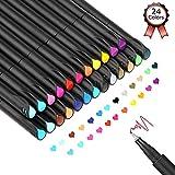 24 Fineliner Stifte,Bullet Journal Stifte Set,Farbig Stifte Pinselstift Set Farbe Pen Fine Line Point Filzstift Feine Spitze Sketch Schreiben Zeichnen Marker für Hinweis Kalender Färben Kunst