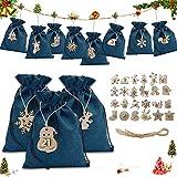 Sunshine smile 24 Adventskalender zum Befüllen,Adventskalender Stoffbeutel mit 24 Zahlen Holzanhänger,Weihnachten Geschenksäckchen Stoffbeutel,Adventskalender Säckchen,Weihnachtskalender DIY