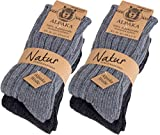 Brubaker 4 Paar dicke flauschige warme Alpaka Socken Grautöne 100% Alpaka 35-38