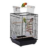 Yaheetech Vogelkäfig mit Vogelspielzeuge Wellensittichkäfig Nymphensittiche Fink Papageienkäfig mit Dach 40 x 40 x 58 cm