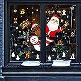 CMTOP Weihnachten Fenstersticker Fensterbilder Winter Statisch Haftende PVC Aufklebe Weihnachtsmann Elch Schneemann Wiederverwendbar Schneeflocken Fenster