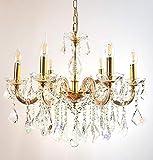Kristall Kronleuchter Cristallo Ø60cm 6 Leuchten Arme mit Kristallglas ummantelt Gold