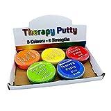 Therapeutische Knete, Premium-Set, 5 Stück, quetschbar, ungiftig, für Handübungen, Anti-Stress, 5 Stärken für Erwachsene und Kinder, 57 g, farbkodierte Behälter