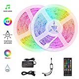 HoMii LED Streifen 10m - RGB LED Strips Sync mit Musik, IP65 Wasserdicht 300 LED 5050 SMD Farbwechsel LED Strip, 40 key Fernbedienung,16 single colors (10M)